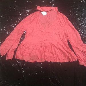 NWT BEAUTIFUL BELL SLEEVE CHOCKERNECK DRESS SHIRT
